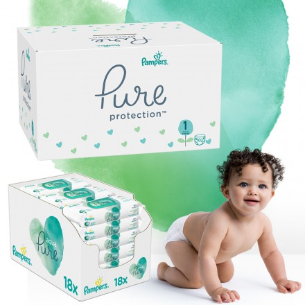 Pampers Pure Protection Monatspack: 102 St. Windeln Gr.1 + 864 St. Feuchttücher