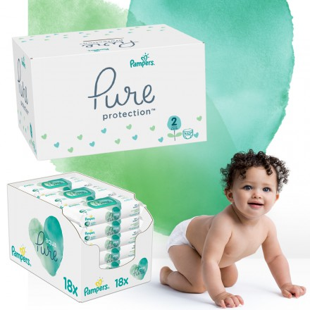 Pampers Pure Protection Monatspack: 132 St. Windeln Gr.2 + 864 St. Feuchttücher