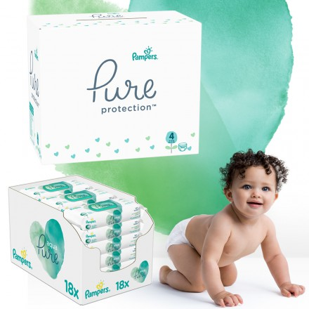 Pampers Pure Protection Monatspack: 160 St. Windeln Gr.4 + 864 St. Feuchttücher