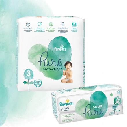 Pampers Pure Protection Probierpack: 22 St. Windeln Gr.3 + 96 St. Feuchttücher