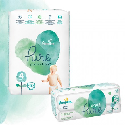 Pampers Pure Protection Probierpack: 19 St. Windeln Gr.4 + 96 St. Feuchttücher