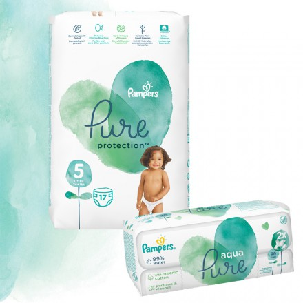 Pampers Pure Protection Probierpack: 17 St. Windeln Gr.5 + 96 St. Feuchttücher